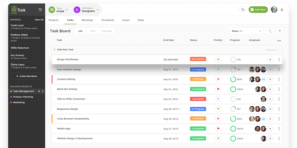 nTask A Project Management Software